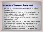 formatting a worksheet background