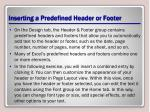 inserting a predefined header or footer
