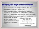 modifying row height and column width3