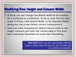 modifying row height and column width6