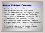 setting a worksheet s orientation