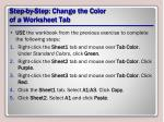 step by step change the color of a worksheet tab