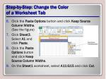 step by step change the color of a worksheet tab1