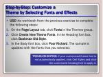 step by step customize a theme by selecting fonts and effects