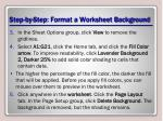 step by step format a worksheet background1