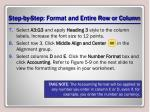 step by step format and entire row or column2