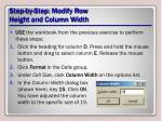 step by step modify row height and column width