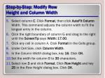 step by step modify row height and column width1