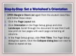 step by step set a worksheet s orientation