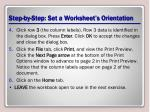 step by step set a worksheet s orientation1