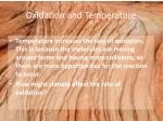 oxidation and temperature