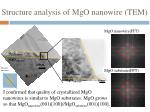 structure analysis of mgo nanowire tem