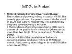 mdgs in sudan
