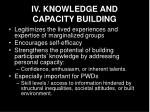 iv knowledge and capacity building