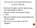 norms for learning mathematics used at railside