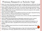 previous research at railside high