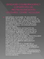 entidades colaboradoras y copart cipes del proyecto iniciatives solidaries centre acollida
