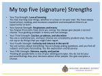 my top five signature strengths