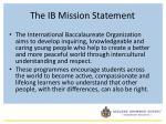 the ib mission statement
