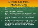 density lab part 1 procedure