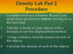 density lab part 2 procedure
