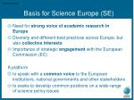 basis for science europe se
