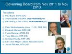 governing board from nov 2011 to nov 2013
