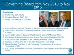 governing board from nov 2013 to nov 2015
