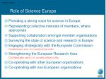 role of science europe