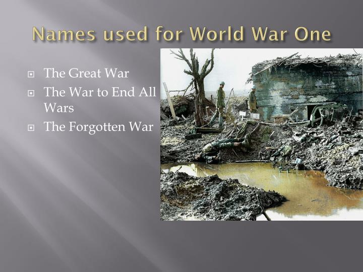 Names used for world war one