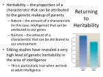 returning to heritability