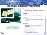 technical student programme