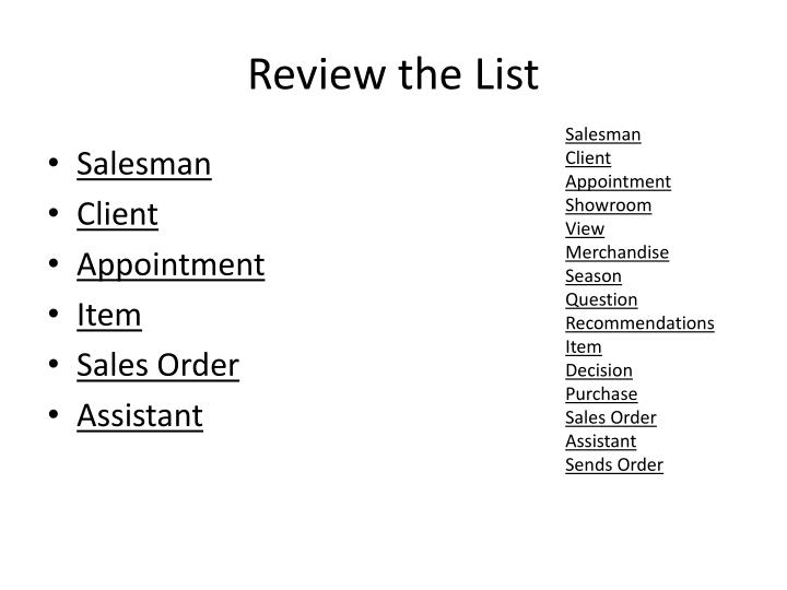 Review the List