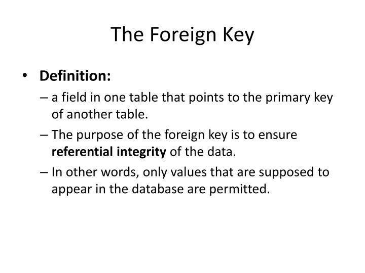 The Foreign Key