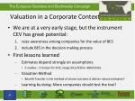valuation in a corporate context