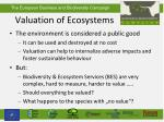 valuation of ecosystems