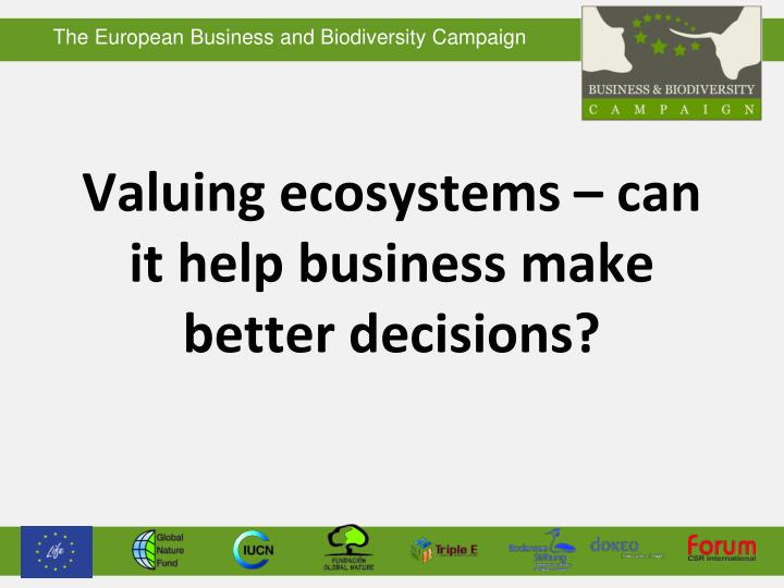 valuing ecosystems can it help business make better decisions n.