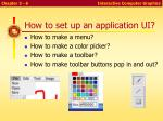how to set up an application ui