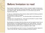 before invitation to read