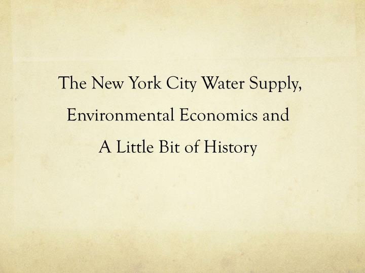 The New York City Water Supply,