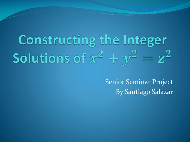 constructing the integer solutions of n.