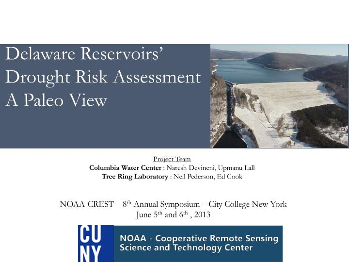delaware reservoirs drought risk assessment a paleo view n.