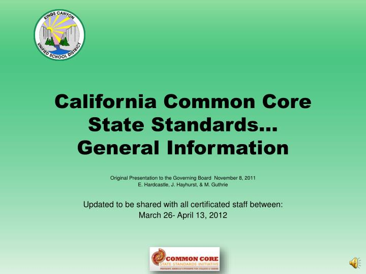 california common core state standards general information n.