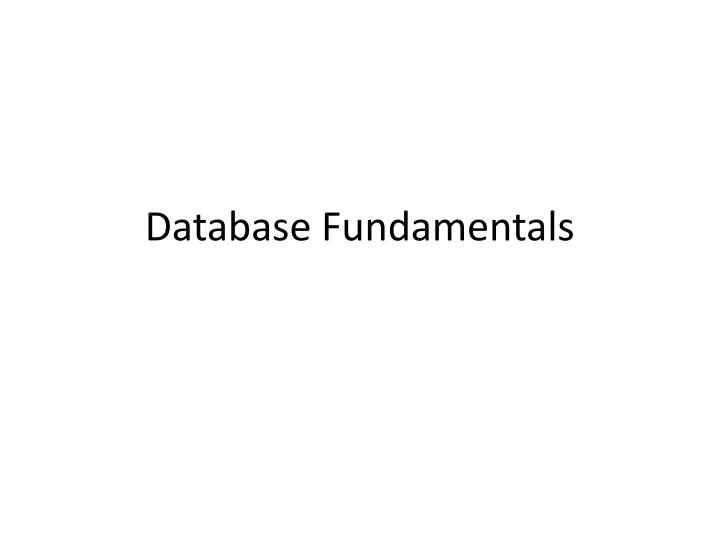database fundamentals n.