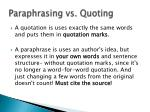 paraphrasing vs quoting