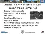 madison park complete streets walk recommendations may 12