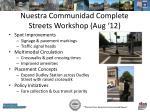 nuestra communidad complete streets workshop aug 12
