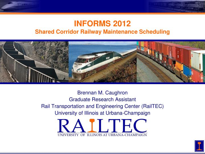 informs 2012 shared corridor railway maintenance scheduling n.