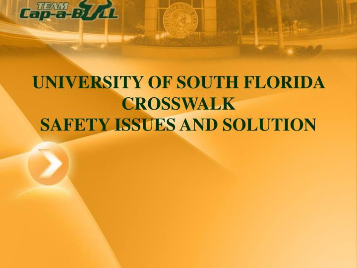 university of south florida crosswalk safety issues and solution n.
