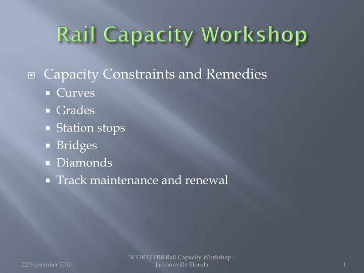 rail capacity workshop n.